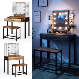 Vicco Design Schminktisch Fyrk Sitzbank + LED-Beleuchtung Frisiertisch Kommode - Bild 1