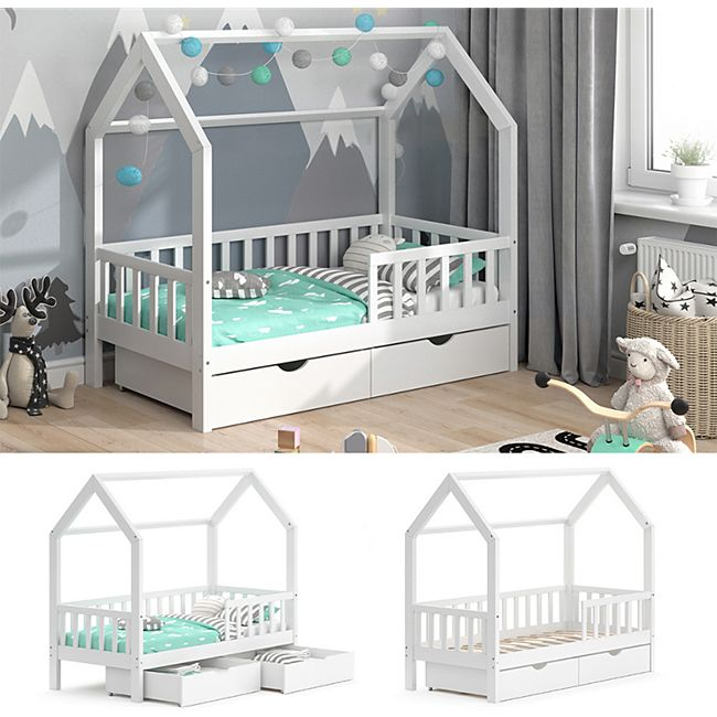 VitaliSpa Kinderbett Hausbett Spielbett Wiki 80x160 inkl Lattenrost 2 Schubladen - Bild 1
