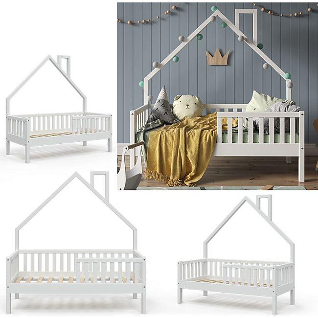 VitaliSpa Hausbett Kinderbett Spielbett Noemi 70x140cm weiß Rausfallschutz - Bild 1
