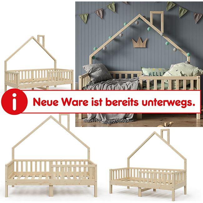 VitaliSpa Hausbett Kinderbett Spielbett Noemi 80x160cm natur Rausfallschutz - Bild 1