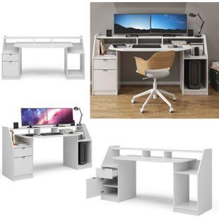 Vicco Schreibtisch Computertisch Bürotisch Home Joel Weiß Arbeitstisch PC Tisch - Bild 1