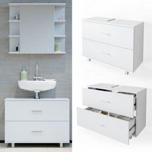 VICCO Waschbeckenunterschrank ILIAS Weiß Schublade Unterschrank Badezimmer - Bild 1