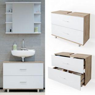 VICCO Waschbeckenunterschrank ILIAS Weiß Eiche Schublade Unterschrank Badezimmer - Bild 1