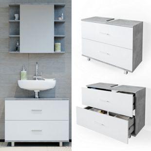 VICCO Waschbeckenunterschrank ILIAS Weiß Beton Schublade Unterschrank Badezimmer - Bild 1