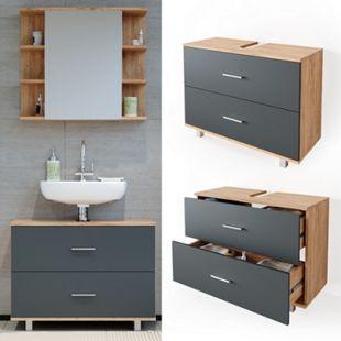 VICCO Waschbeckenunterschrank ILIAS Eiche Anthrazit Schublade Unterschrank Badezimmer - Bild 1