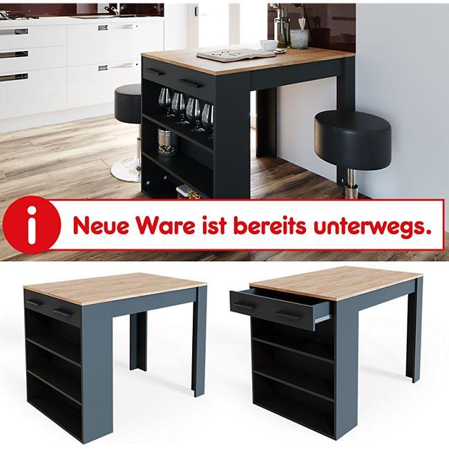 VICCO Bartisch REPOSE Tresen Tisch Regal Bistrotisch Schublade Eiche Anthrazit - Bild 1
