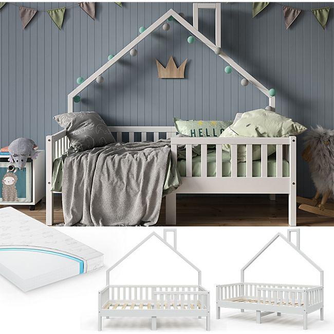 VitaliSpa Hausbett Kinderbett Spielbett Noemi 80x160cm inkl. Matratze weiß - Bild 1