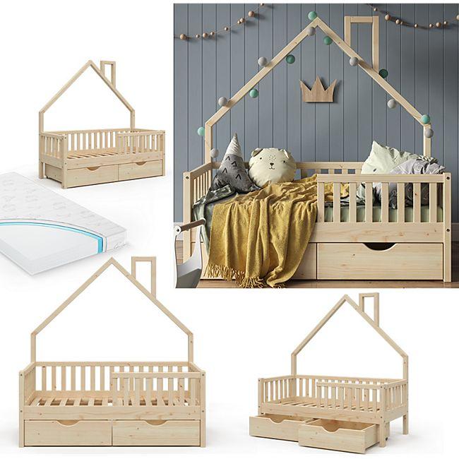 VitaliSpa Hausbett Kinderbett Spielbett Noemi 70x140cm inkl. Matratze Schubladen - Bild 1