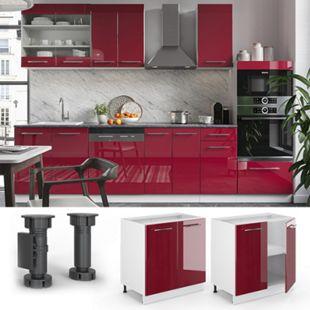 VICCO Unterschrank 80 cm Bordeaux Hochglanz Küchenschrank Hängeschrank Küchenzeile Fame-Line - Bild 1