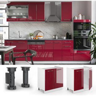 VICCO Spülenunterschrank 80 cm Bordeaux Hochglanz Küchenschrank Hängeschrank Küchenzeile Fame-Line - Bild 1