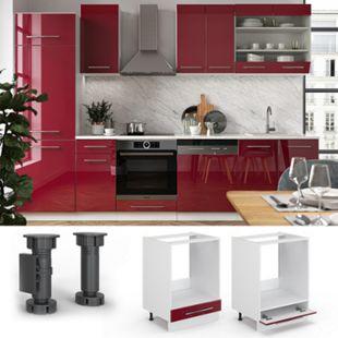 VICCO Herdumbauschrank 60 cm Bordeaux Hochglanz Küchenschrank Hängeschrank Küchenzeile Fame-Line - Bild 1