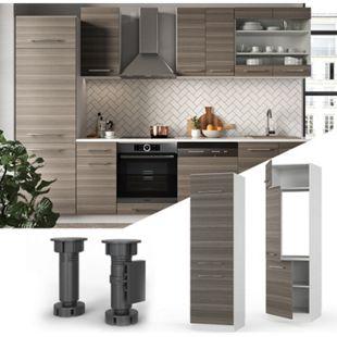 VICCO Kühlumbauschrank 60 cm Edelgrau Küchenschrank Hochschrank Küchenzeile Fame-Line - Bild 1