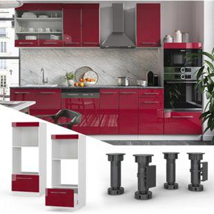 VICCO Mikrowellenschrank 60 cm Bordeaux Hochglanz Küchenschrank Backofen Küchenzeile Fame-Line - Bild 1