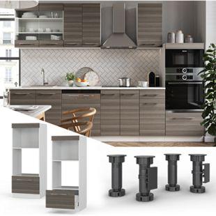 VICCO Mikrowellenschrank 60 cm Edelgrau Küchenschrank Backofen Küchenzeile Fame-Line - Bild 1