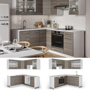Vicco Eckküche Küchenzeile Küchenblock 160x180cm Fame-Line Winkelküche Edelgrau - Bild 1