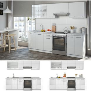 Vicco Küche Raul Küchenzeile Küchenblock Einbauküche 240 cm  Weiß Hochglanz - Bild 1