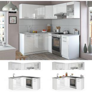 Vicco Küche Küchenzeile L-Form Küchenblock Einbauküche Komplettküche 167x187cm Weiß HGL - Bild 1