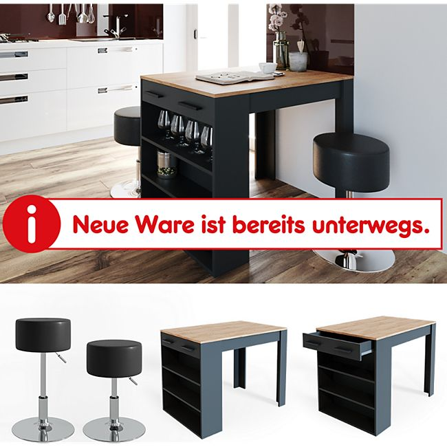 VICCO Bartisch REPOSE Tresen Tisch Hocker Bistrotisch Schublade Eiche Anthrazit - Bild 1
