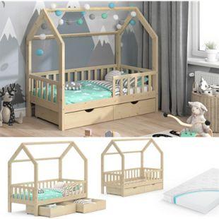 VitaliSpa Kinderbett Hausbett Spielbett Wiki 80x160 inkl Matratze 2 Schubladen - Bild 1