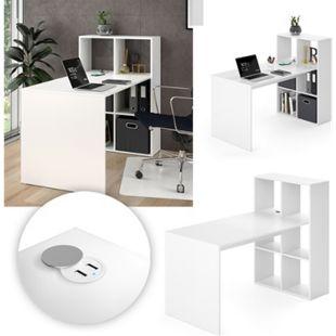 Vicco Schreibtisch Computertisch Raumteiler Emir mit USB Ladestation Tisch Hub - Bild 1