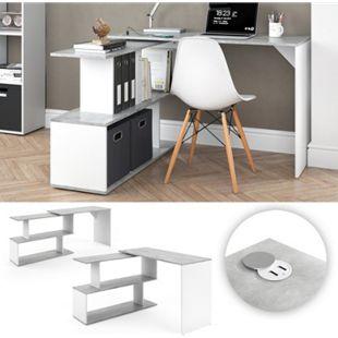 Vicco Eckschreibtisch Schreibtisch Computertisch Levia mit USB Ladestation Hub Beton Weiß - Bild 1