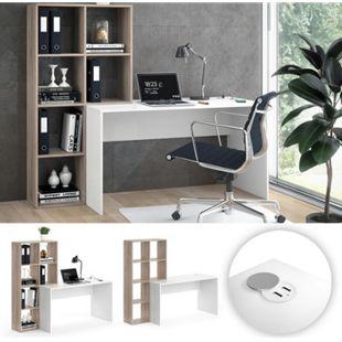 Vicco Schreibtisch Raumteiler Computertisch Mara mit USB Ladestation Tisch Hub - Bild 1
