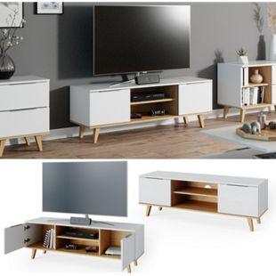 VICCO Lowboard TV-Board Fernsehtisch NEPTUNE Sideboard Skandinavisch weiß Eiche - Bild 1