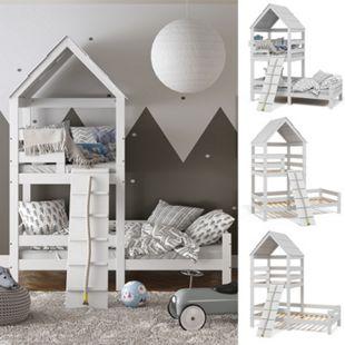 VitaliSpa Kinderbett Teddy 90x200cm Spielturm Bett Spielbett Jugendbett Hausbett Weiß - Bild 1
