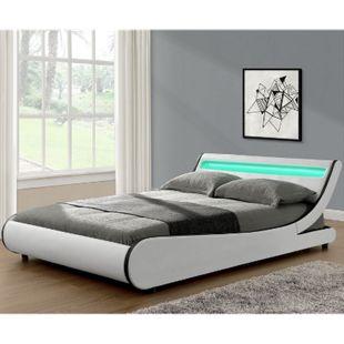 ArtLife Polsterbett Bett Valencia 140 x 200 cm weiß Einzelbett mit LED-Beleuchtung und Lattenrost - Bild 1