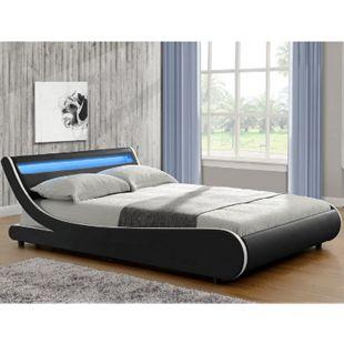 ArtLife Polsterbett Bett Valencia 140 x 200 cm schwarz Einzelbett mit LED-Beleuchtung und Lattenrost - Bild 1