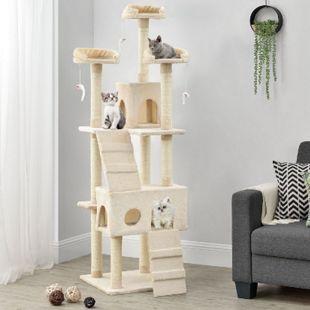 Sam´s Pet Katzen-Kratzbaum Amy beige | Katzenbaum inkl. Höhlen, Liegeflächen, Treppen & Sisal Stämme - Bild 1