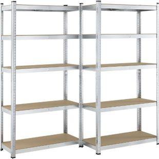 Lagerregal Basic – Metall Schwerlastregal 2er Set 180x90x40 cm, 10 Böden, 1750 kg, verzinkt | Juskys - Bild 1