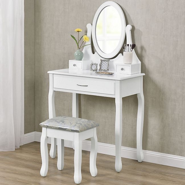 ArtLife Schminktisch Lena mit Spiegel, Hocker und 3 Schubladen – weiß – Kosmetiktisch aus MDF Holz - Bild 1