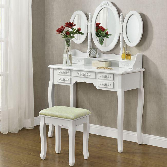 ArtLife Schminktisch Elsa mit Spiegel, Hocker und 7 Schubladen – weiß – Kosmetiktisch aus MDF Holz - Bild 1