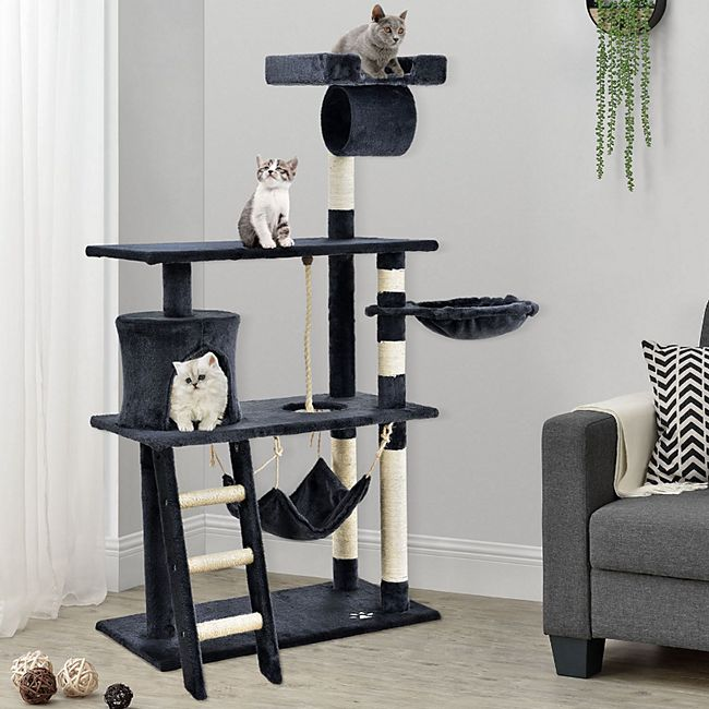 Sam´s Pet Katzen-Kratzbaum Chiara dunkelgrau | Katzenbaum inkl. Höhle, Liegemulde, Hängematte - Bild 1