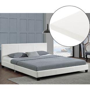 ArtLife Polsterbett Barcelona 140 x 200 cm weiß Einzelbett mit Kaltschaummatratze - Bild 1