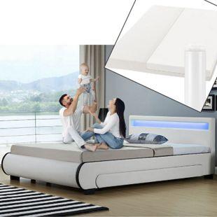 Polsterbett Bilbao 140x200 cm mit Matratze – inkl. Bettkästen, LEDs und Lattenrost – weiß | ArtLife - Bild 1