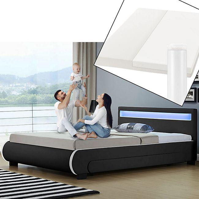 Polsterbett Bilbao 140x200 cm mit Matratze – inkl. Bettkästen, LEDs & Lattenrost – schwarz | ArtLife - Bild 1