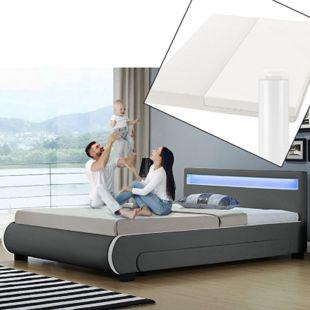 Polsterbett Bilbao 140x200 cm mit Matratze – inkl. Bettkästen, LEDs und Lattenrost – grau | ArtLife - Bild 1