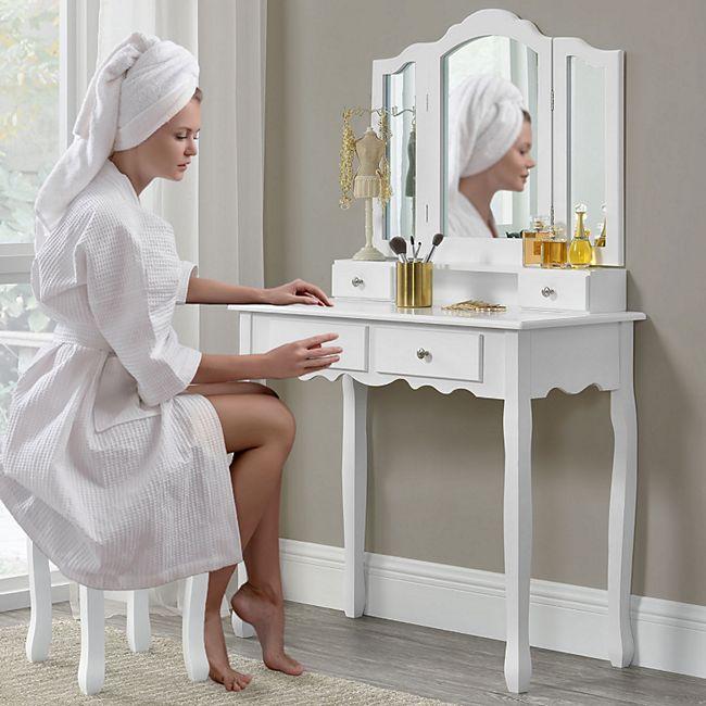 schminktisch emma weiß mit spiegel und hocker