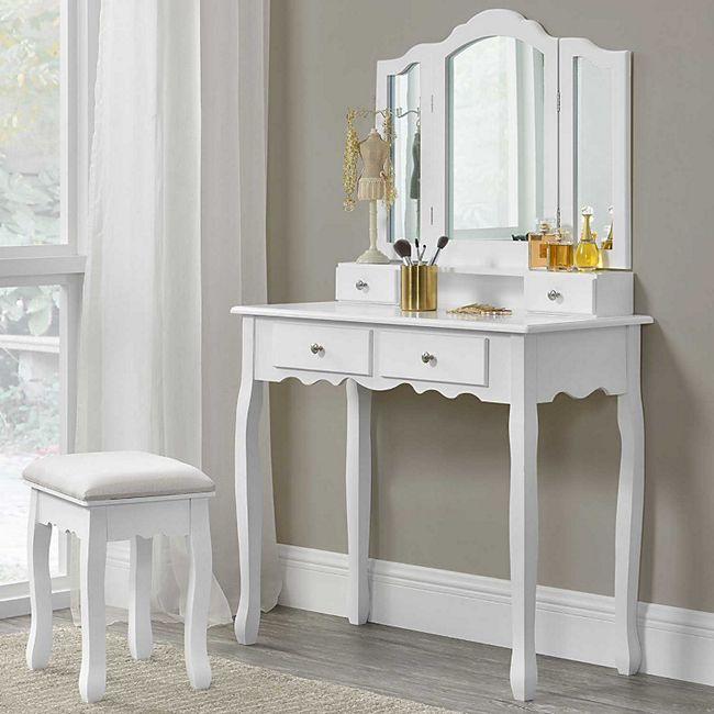 ArtLife Schminktisch Emma mit Spiegel, Hocker und 4 Schubladen – weiß – Kosmetiktisch aus MDF Holz - Bild 1