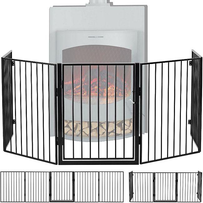 Juskys Metall Kaminschutzgitter 300 x 76 cm klappbar – Schutzgitter für Tiere – inkl. Tür - Bild 1