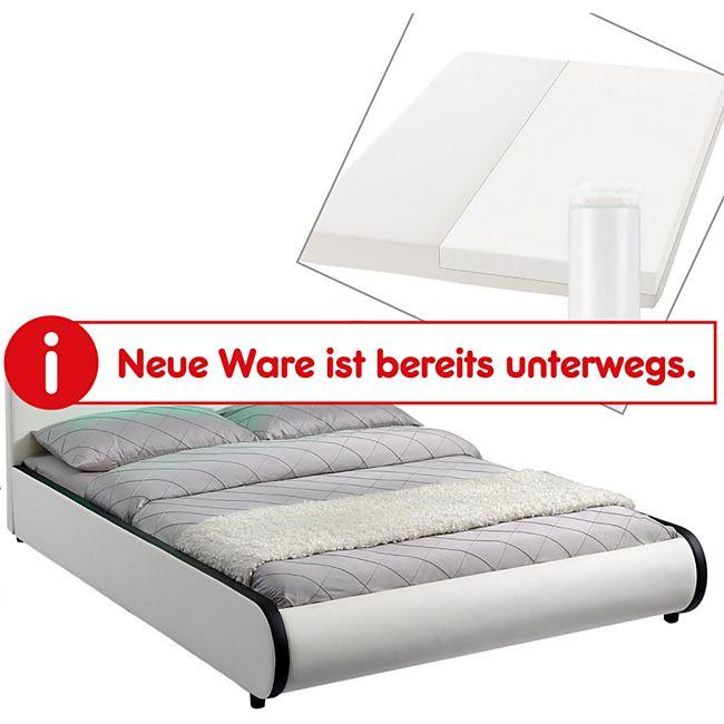 ArtLife Polsterbett Sevilla 180 x 200 cm weiß Doppelbett Ehebett mit Kaltschaummatratze - Bild 1
