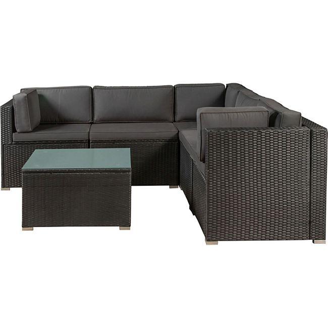 Polyrattan Lounge Nassau schwarz für 5 Personen mit Ecksofa & Tisch – Bezüge Dunkelgrau | Juskys - Bild 1