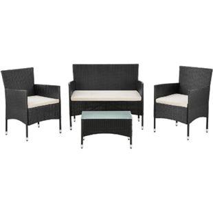 Polyrattan Gartenmöbel-Set Fort Myers schwarz mit Tisch, Sofa, 2 Stühle & Auflagen | Juskys - Bild 1