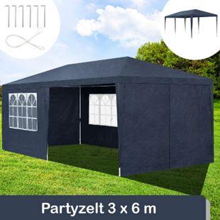 Juskys Partyzelt Gartenzelt 3 x 6 m mit Stahlgerüst und Seitenwänden in blau - Bild 1