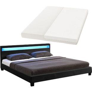 ArtLife Polsterbett Paris 160 x 200 cm Einzelbett Doppelbett in schwarz mit Kaltschaummatratze - Bild 1