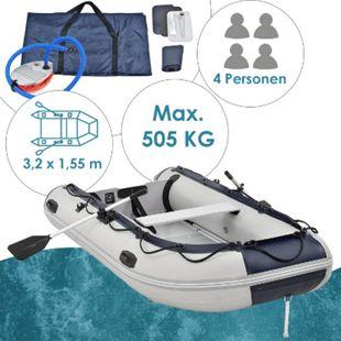 ArtSport Schlauchboot grau mit Aluboden – aufblasbar- für 4 Personen- 3,20 Meter – Paddelboot - Bild 1