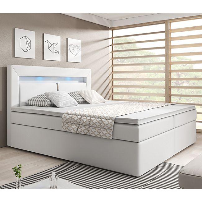 ArtLife Boxspringbett New Jersey 140 x 200 cm weiß | Bettkästen und Federkernmatratze | Kunstleder - Bild 1
