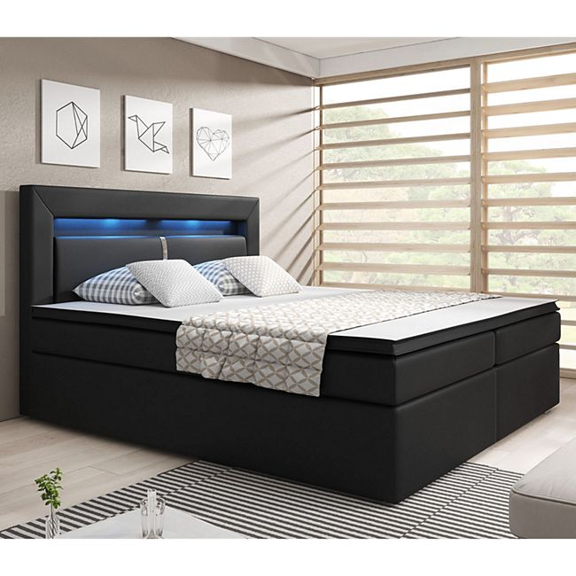 ArtLife Boxspringbett New Jersey 140 x 200 cm schwarz Bettkästen & Federkernmatratze aus Kunstleder - Bild 1